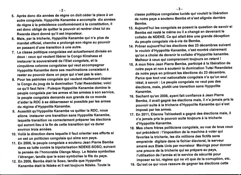 MFUMU MUANDA NSEMI S'ADRESSE A LA CLASSE POLITIQUE CONGOLAISE A PROPOS DES PSEUDO ELECTIONS D'HYPPOLITE KANAMBE b