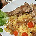 Epaules de lapin à la bière brune et tagliatelles fraîches