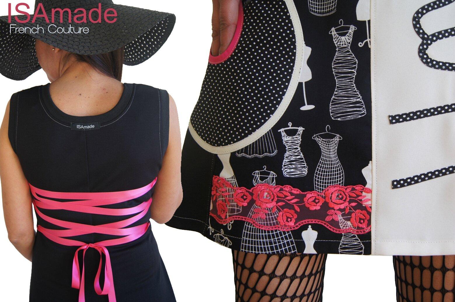 Robe Originale Noire et blanc cassé à l'esprit Couture Chic et décalé à dentelle Rose fuchsia : c'est une pièce unique de la collection Printemps 2015 ISAmade !