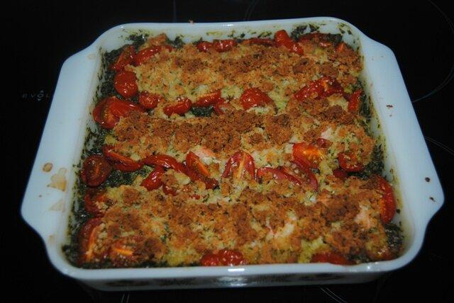 Crumble de saumon sur lit d'épinards