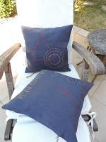 Coussins carrés 40 x 40 cm en lin bleu jean référence : LDCITY