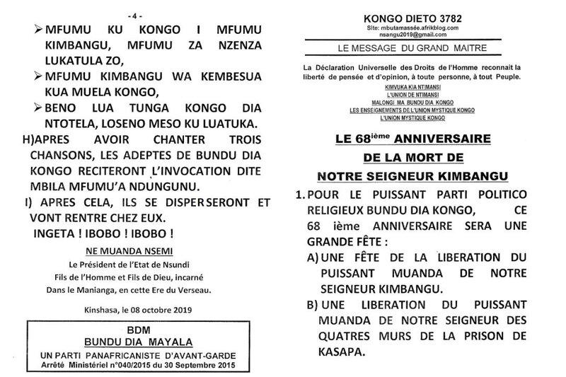 LE 68EME ANNIVERSAIRE DE LA MORT DU SEIGNEUR KIMBANGU a