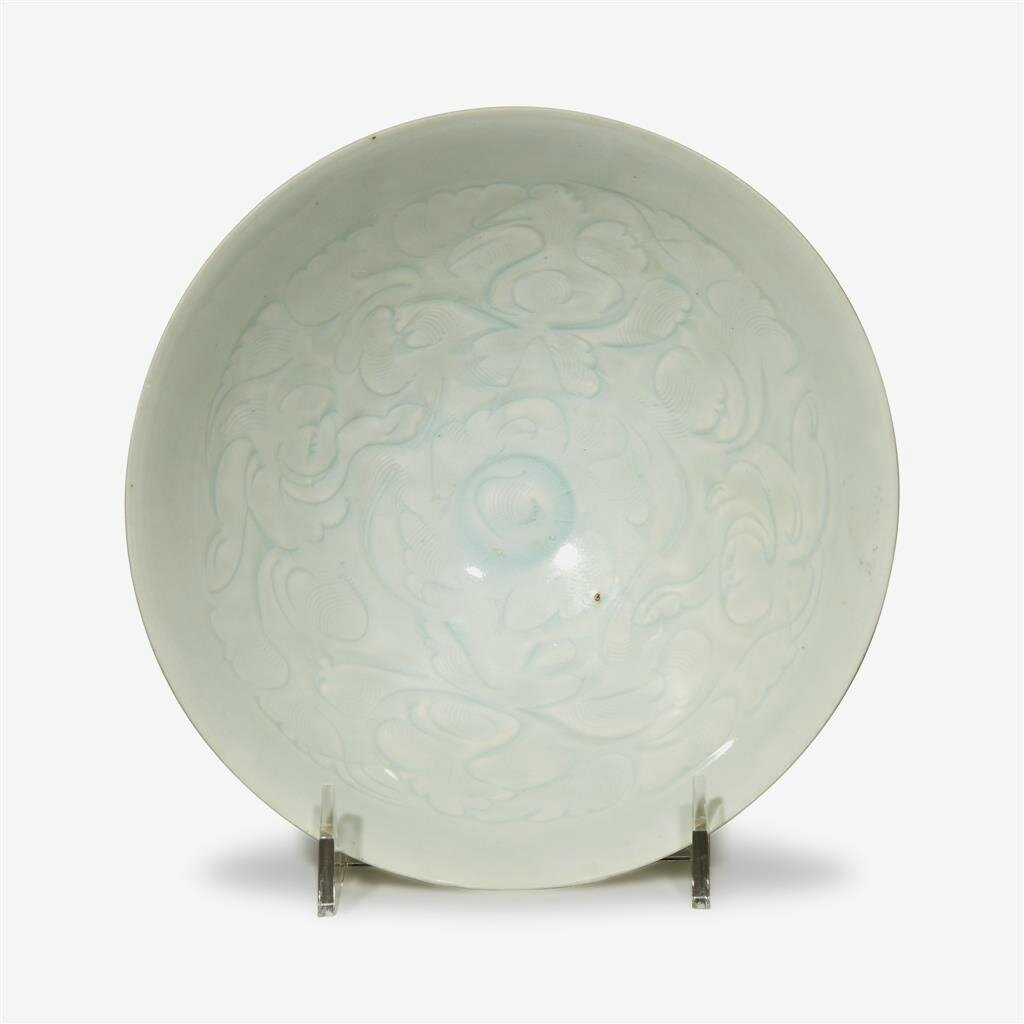 A large Chinese carved Qingbai 'peony' bowl, Northern Song dynasty (960-1127)
