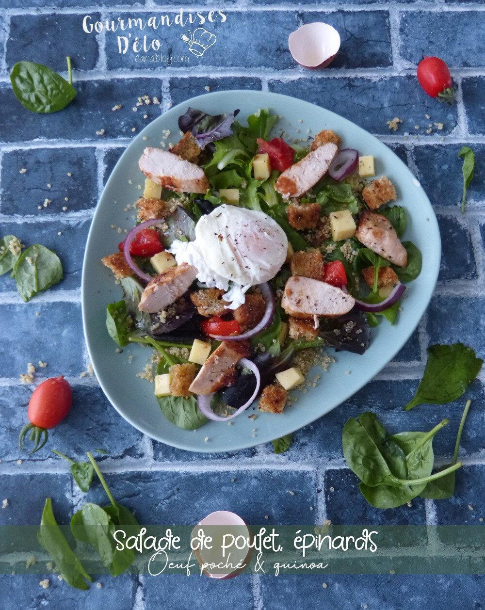 Salade de poulet, épinards, œuf et quinoa