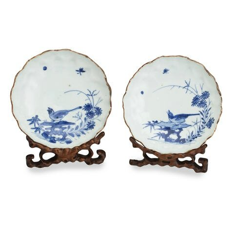 A pair of blue and white saucer dishes. Bearing a Chenghua six character mark but 17th century. Photo Bonhams.