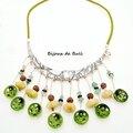 Col317 - collier végétal en fimo, jade, graines et cuir