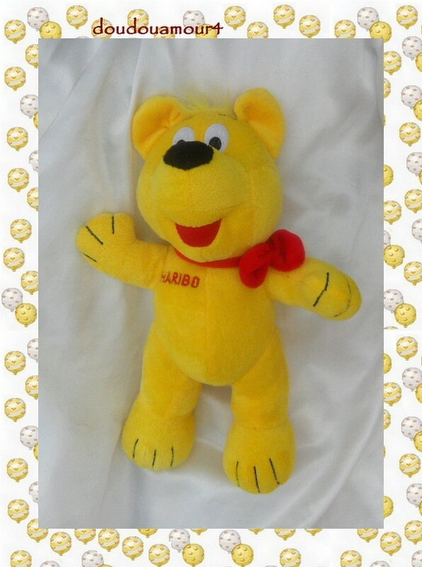 Doudou Peluche Ours Jaune Noeud Rouge Haribo GmbH 30 cm