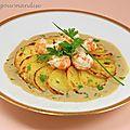 Rosaces de pommes de terre aux langoustines