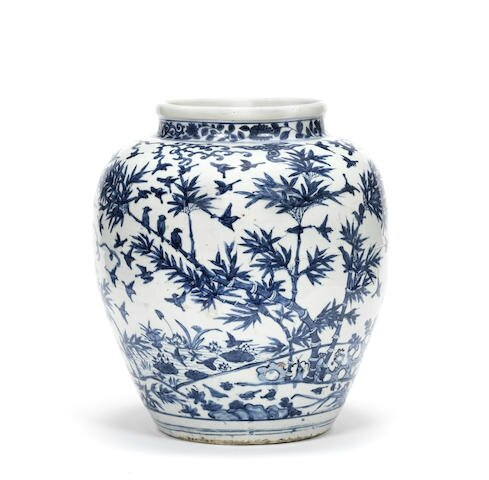 A blue and white 'hundred birds' jar, Wanli six-character mark and of the period