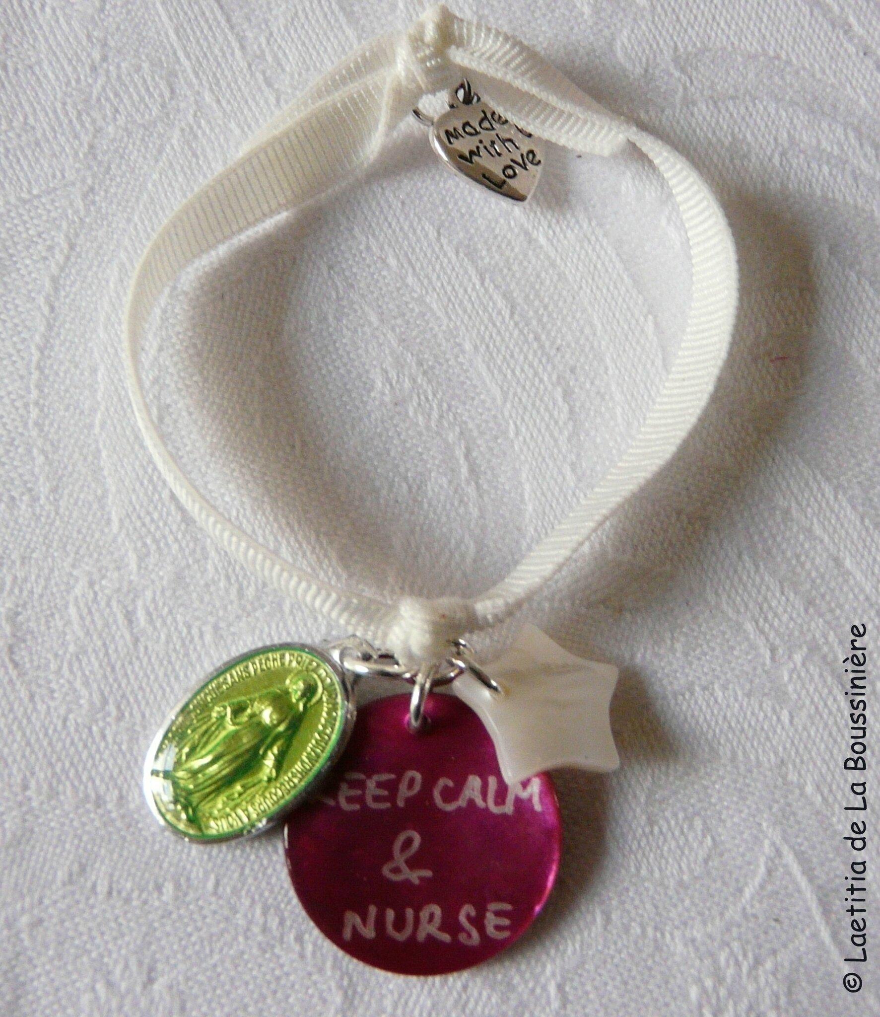 Bracelet d'allaitement Marie (granny, fushia et blanc)