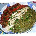 Escalopes accompagnés d'haricots verts sautés et poivron rouge