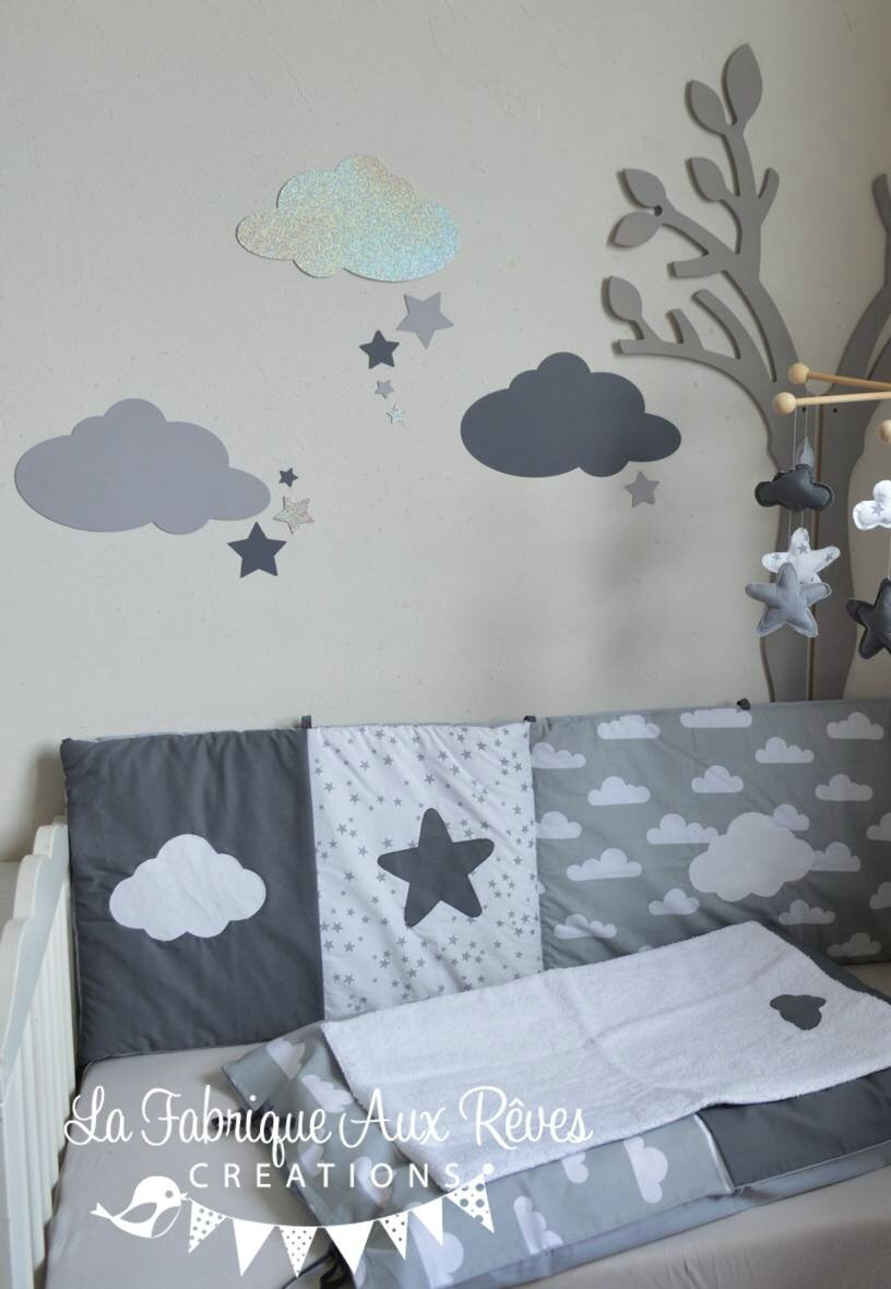 stickers nuages toiles gris fonc argent gris clair d coration chambre b b fille gar on. Black Bedroom Furniture Sets. Home Design Ideas