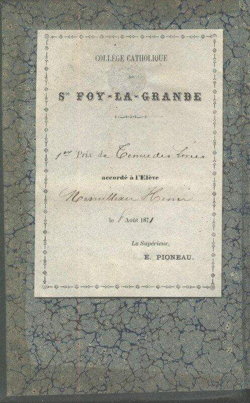 Le livre précédent a été reçu par Henri Merveilleau, 1er prix de tenue des Livres, le 8 août 1871. Le directeur était E. Pioneau.