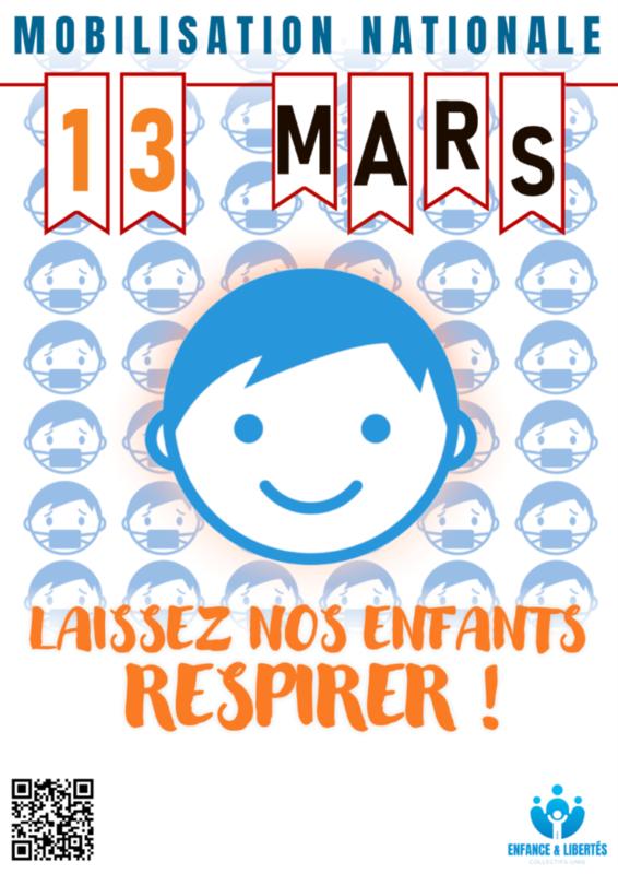 - Enfance & Libertés lance un appel à la mobilisation nationale le 13 mars contre le port du masque à l'école