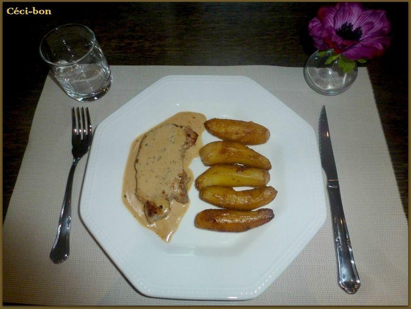 Côtes de porc au vin blanc et pommes de terre au sucre
