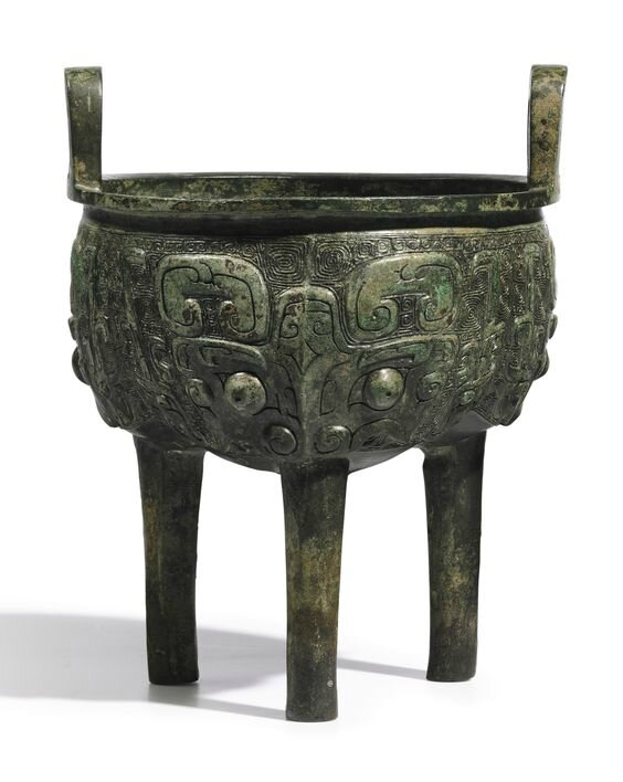 An archaic bronze ritual food vessel, liding, Late Shang – Early Western Zhou dynasty