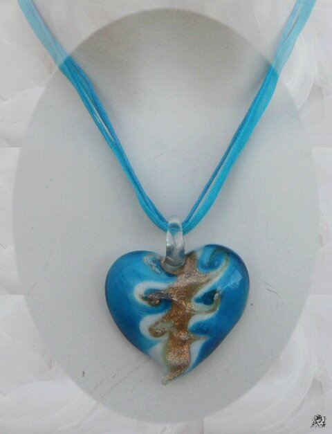 Pendentif Coeur Nazaly Turquoise Blan Or Verre Soufflé Style Murano