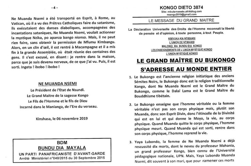 LE GRAND MAITRE DU BUKONGO S'ADRESSE AU MONDE ENTIER a