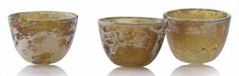three_early_small_amber_glass_cups_tang_liao_dynasty_9th_12th_century_d5379580h