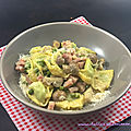 Tortellini aux champignons, jambon et petits pois