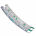 An art deco diamond and emerald bracelet, cartier, circa 1925