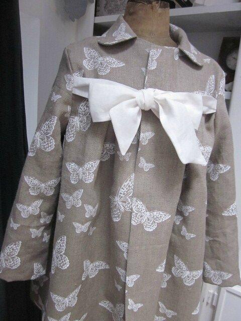 Manteau en lin brut imprimé papillon écru - noeud de lin écru (3)