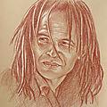Yannick Noah - portrait aux 3 crayons sur papier bis 30x40 cm