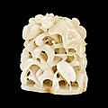 A white jade reticulated 'lotus and egrets' finial, ming dynasty (1368-1644)