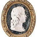 Médaillon représentant un jeune homme de profil en marbre blanc.epoque louis xiv
