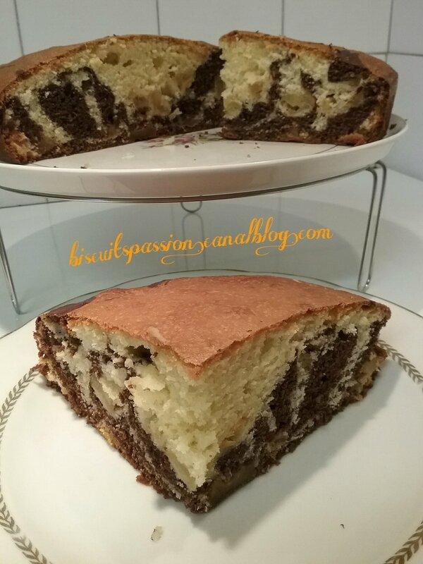Gâteau marbré au yaourt et aux pommes caramélisées 065