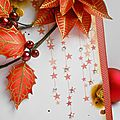 Cartes poinsettias et branches de houx