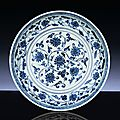 A fine early Ming blue and white dish, Yongle period (1403-1425)