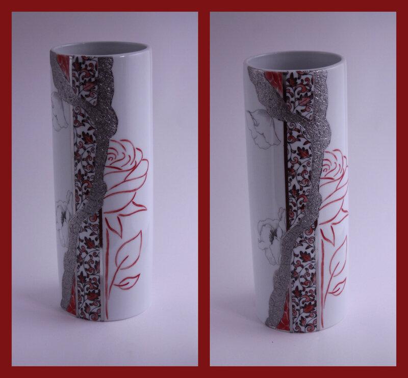 Vase rond décalco et rose