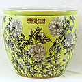 Rare grisaille-decorated yellow ground planter. Estimate $6000-$8000. Sold for $5,324. Elite Decorative Arts.