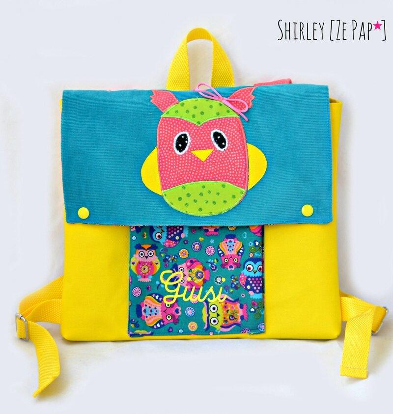 sac enfant sac maternelle hibou chouette jaune et bleu canard