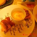 Cappuccino de potiron accompagné de potiron au jambon de bayonne