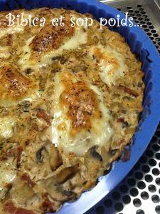 Tarte de polenta champignons, bacon et ricotta gros plan