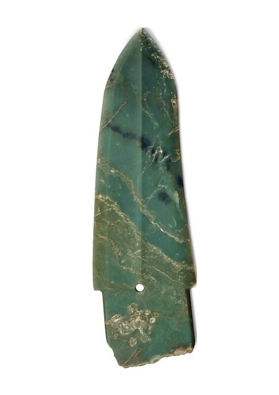 A rare large bluish olive-green jadegedagger-axe, China, Late Shang dynasty, 11th century BC 4