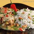 Poulet coco et riz parfumé aux noix de cajou