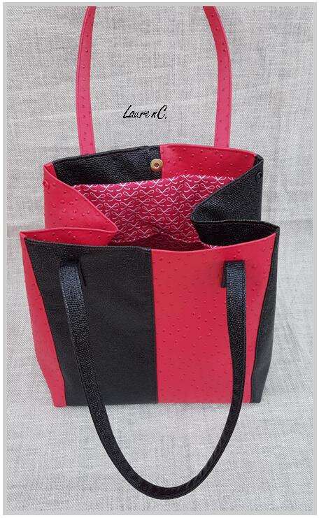 SAC SIMILI ROUGE NOIR ZIP VERTICAL DOS