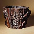 A chenxiangmu brush pot, 17th century