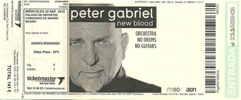 2010 09 Peter Gabriel Palacio de Deportes Billet