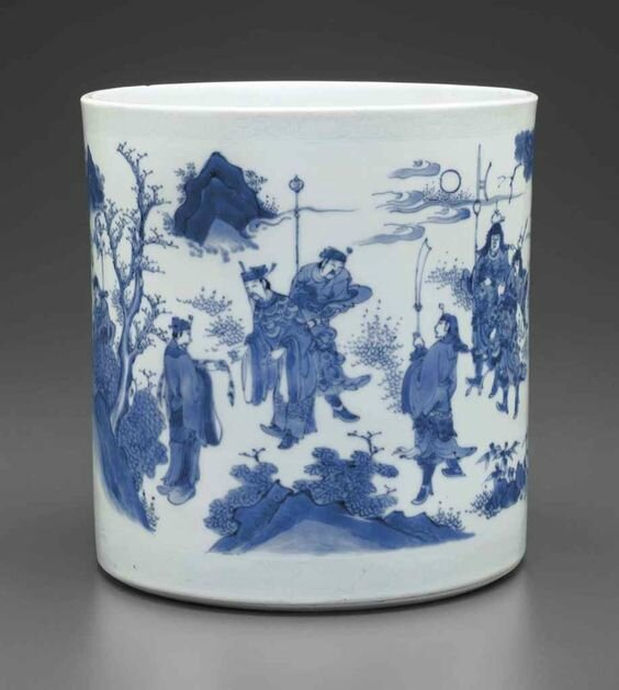 A superb large blue and white brush pot, Chongzhen period, circa 1640