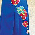 jupe bleue FLEURS