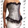 Le corset vintage satin argent avec motifs et dentelle noire