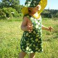 ensembles robe + chapeau citron vert
