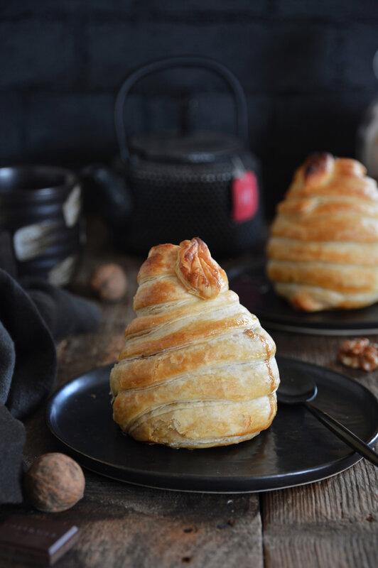 poire feuilletée chocolat noix vegan - CROUSTIPATE