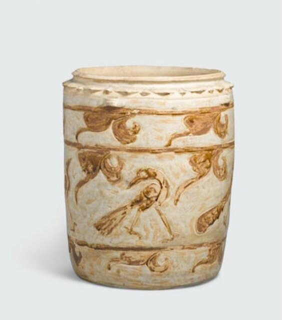 A cream glazed storage jar with brown inlay bird decoration, Lý–Trần dynasty, 12th-14th century