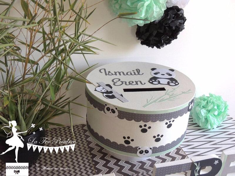 decoration bapteme theme panda noir blanc lettre prenom urne boite souvenir pompons2