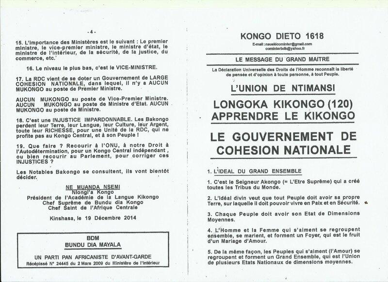 LE GOUVERNEMENT DE COHESION NATIONALE a